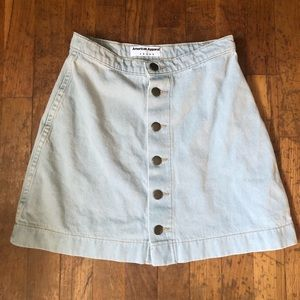 American Apparel Denim Button Front Skirt (Size S)